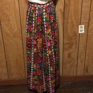 70's Boho Barkcloth Maxi Skirt Vibrant Color Sz M